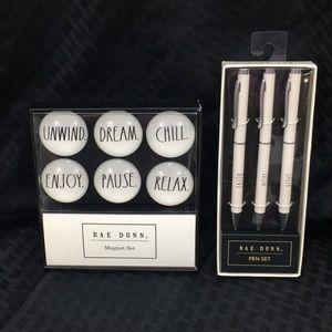 Rae Dunn Glass-Dome Magnets & Pen Set